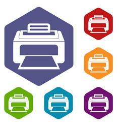 modern laser printer icons set vector image vector image