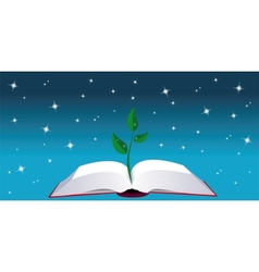 Open book with tree sprout vector image vector image