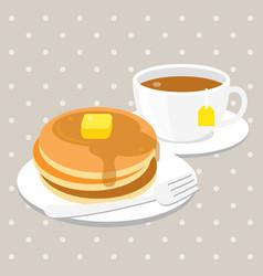 pancake and tea vector image vector image