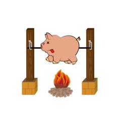 picnic cooking campfire icon vector image