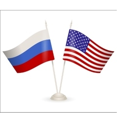 Table stand with flags of Russia and USA vector image vector image
