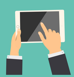 business hand holding tablet and touch to screen vector image vector image