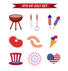 set of patriotic icons independence day of america vector image vector image