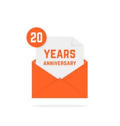 20 years anniversary icon in orange letter vector image