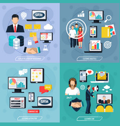 crm flat design concept vector image vector image