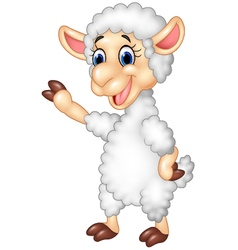 Cute funny sheep waving hand isolated vector image