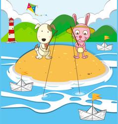 dog and rabbit fishing on island vector image vector image