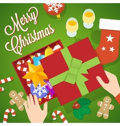 Flat Style Christmas Card or Background vector image
