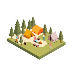 forest camp isometric composition vector image vector image