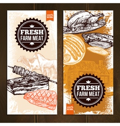 Hand drawn meat food vertical banners vector