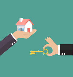 hands with house and hands with key vector image