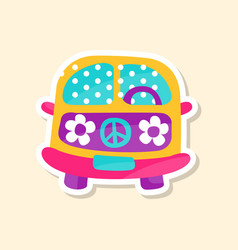 hippie van from the 60ies in flower style cute vector image