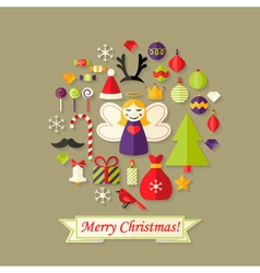 Merry Christmas Card with Flat Icons Set and Angel vector image
