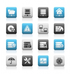 network and server icons vector image