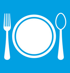 Place setting with platespoon and fork icon white vector
