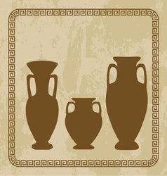 antique vases on grunge backgroun vector image
