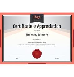 Certificate of appreciation template orange vector