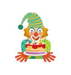 funny circus clown in traditional makeup with vector image