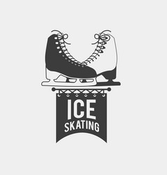 ice skating badge vector image