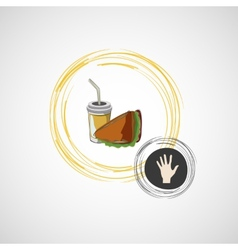 icon of fast food sandwich and a drink vector image vector image