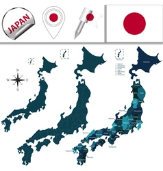 Japan map with named divisions vector image