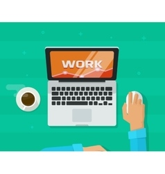 Person freelancer hands working on computer vector image