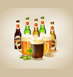 realistic beer background vector image vector image