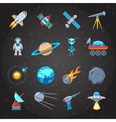 Space And Astronautics Icons Set vector image