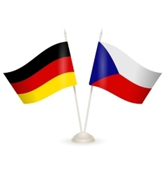 Table stand with flags of Germany and Czech vector image vector image