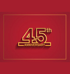 45 anniversary design with simple line style vector
