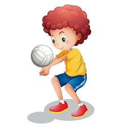 A boy playing volleyball vector image