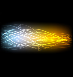 Abstract glowing lines on black background vector