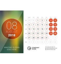 August 2018 desk calendar for 2018 year design vector