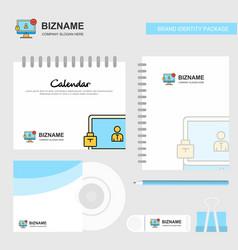 avatar on monitor logo calendar template cd cover vector image