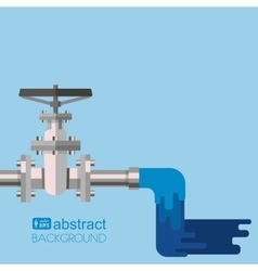 Background water supply with pipe valve vector