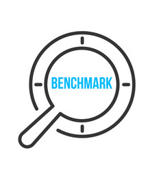 Benchmark word magnifying glass vector