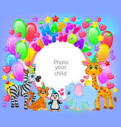 birthday party cute animal frame your baphoto vector image