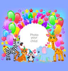 Birthday party cute animal frame your baphoto vector