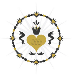 Black and golden vintage royal circle ribbon heart vector