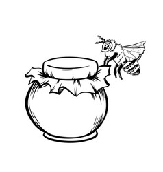 Black outline sketch of honey and bee vector
