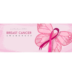 Breast cancer awareness banner with pink butterfly vector
