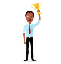 businessman african winner success concept vector image