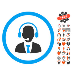 call center manager icon with valentine bonus vector image