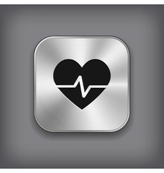 Cardiology icon - metal app button vector image