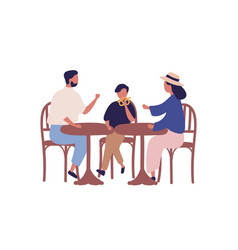 Cartoon family sitting at table in cafeteria vector