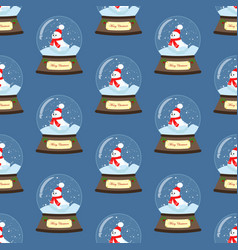 christmas snow globe with seal seamless pattern vector image
