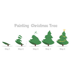 Christmas tree painting step-by-step guide for kid vector