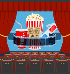 cinema auditorium with seats and popcorn vector image vector image