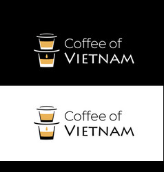 coffee vietnam logo with vietnamese coffee vector image