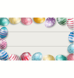 colorful easter eggs with white wooden background vector image